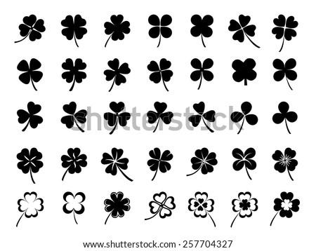 Set of three & four leaf clovers Сток-фото ©