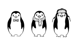 Set of three funny sketch penguins on white background.
