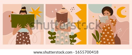Set of three Girls that are reading Books while standing. Young women. Beautiful dresses with prints. Read more books concept. Hand drawn Vector isolated trendy illustrations with abstract backgrounds