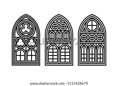 set of three gothic windows