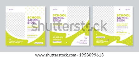 Set of three green grey with bubble chat background and photo school admission or education social media pack template premium vector Foto stock ©