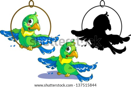 Set of three green parrot with silhouette.