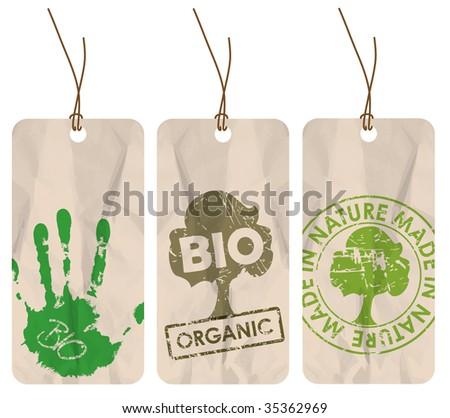 Set of three grunge tags for organic / bio / eco