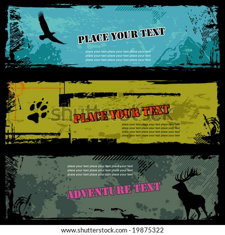 set of three grungy wildlife banners