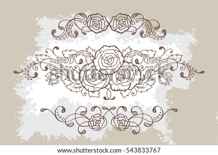 Set of three hand-drawn calligraphic floral design elements and page decoration. Vector illustration with roses in vintage style with aged texture.