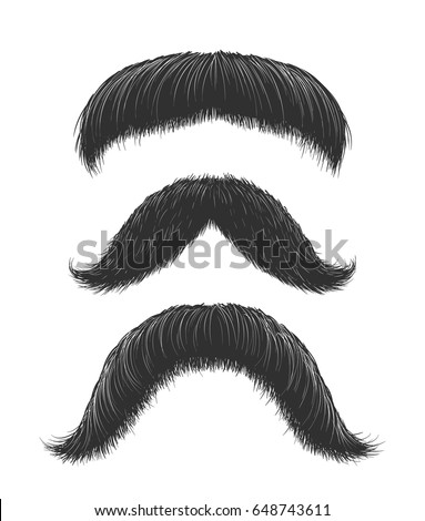 Set of three hand drawn mustaches. Old style vector hipster facial hairstyles.