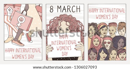 Set of three hand drawn posters or postcards for international women's day, showing portraits of diverse women