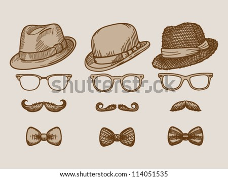 Set of three hand drawn vintage silhouettes of bowler, fedoras, mustaches, eyeglasses and a bow ties - vector illustration.