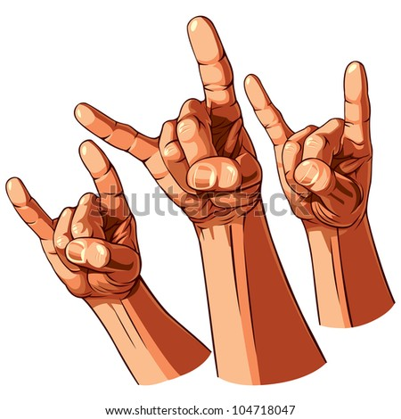 set of three heavy metal hands