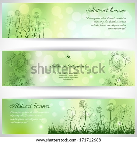 Set of three horizontal banners. Spring or summer  design. Clover and strawberry plants. Bumble bee and ladybug. Place for your text.