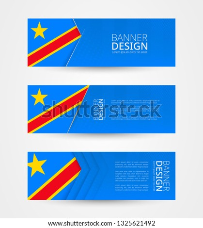 Set of three horizontal banners with flag of DR Congo. Web banner design template in color of DRC flag. Vector illustration.