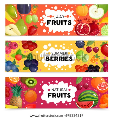 Set of three horizontal berries and fruits banners with colorful images of natural fruit slices with text vector illustration #698334319