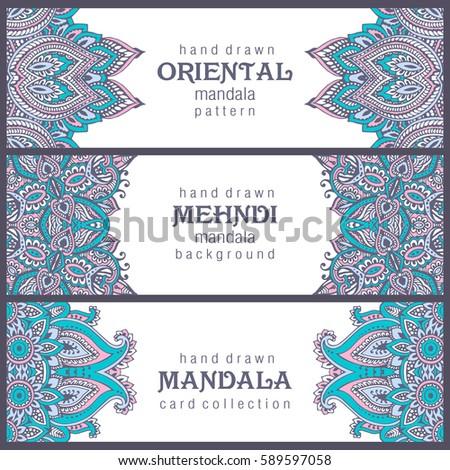 set of three horizontal cards