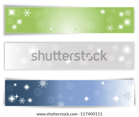 Set of three horizontal Christmas banners with different shadows. Vector illustration.