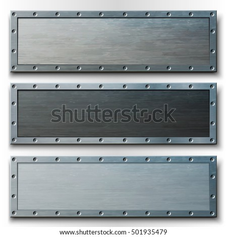 Set of three horizontal metal banners. Vector illustration.