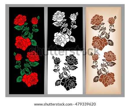 Cross stitch flower border set download free vector art stock set of three illustrations color image of flowers roses using traditional ukrainian embroidery altavistaventures Images