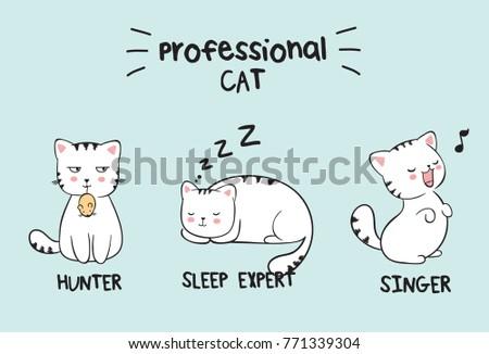 set of three kawaii white cats
