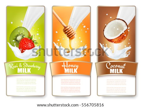 Set of three labels of fruit and berries in milk splashes. Kiwi, strawberry, honey, coconut. Vector.
