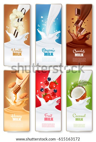 Set of three labels of of fruit in milk splashes. Strawberry, blueberry  honey, vanilla, chocolate, coconut and almond. Vector.