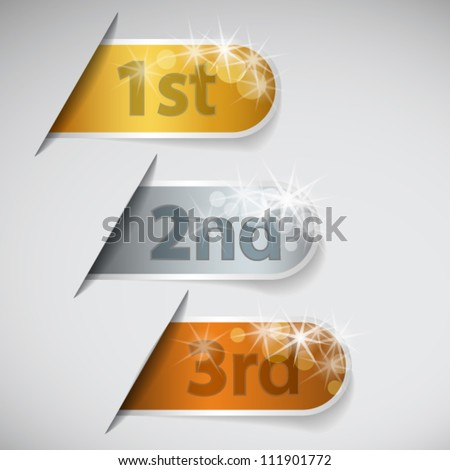 Set of three labels with first, second and third place - stock vector