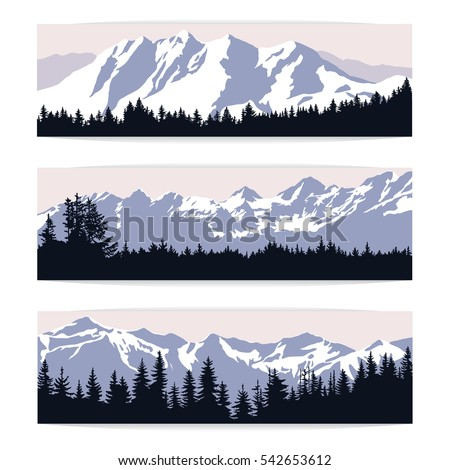 set of three landscape banners