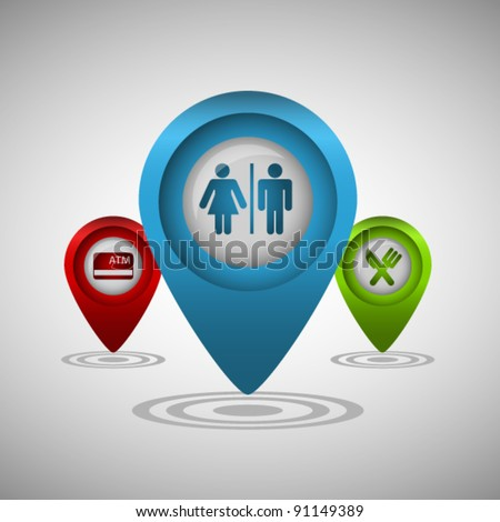 Set of three map pointers with sign of: toilets, restaurant and atm