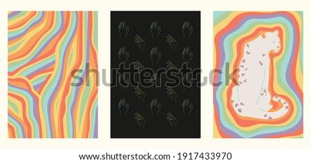set of three minimalist rainbow