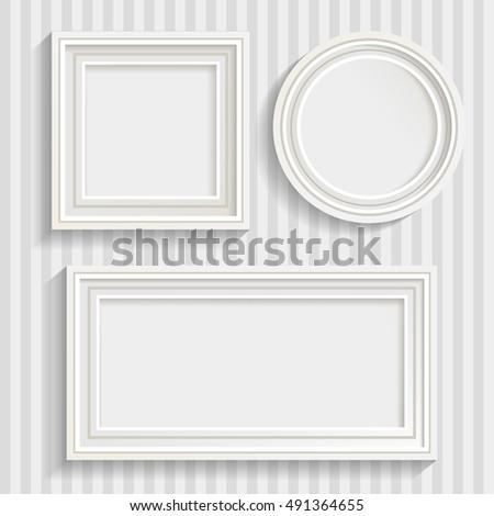 set of three minimalistic white