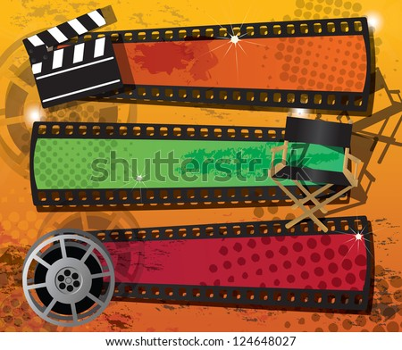 Set of three movie banners on grungy background with place for text, vector
