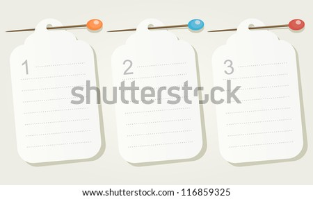 Set of three numbered pinned blank sheets of paper. Vector illustration for your business presentations.