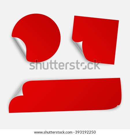Set of three paper sticker templates with bent edge. Isolated on white background. Vector illustration, eps 10.