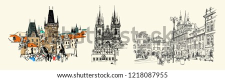 set of three prague landmark