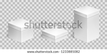Set of three realistic cardboard boxes over transparent background. Set of cosmetic or medical packaging. For Software, electronic device and other products or gifts. Design template. Vector illustrat