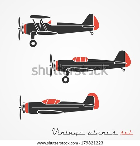 Set of three retro planes gray silhouettes on white background