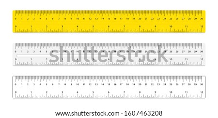 Set of three rulers. Rulers with inches and centimeters double side measurement. Measuring scale, mockup for rulers.  30 centimeters metric vector ruler. School equipment. Measure Tape ruler