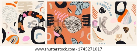set of three seamless collage
