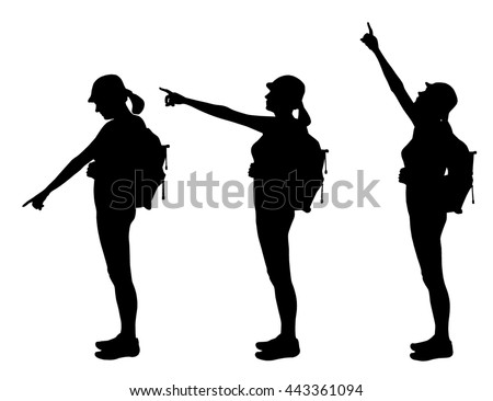 set of three silhouettes   girl
