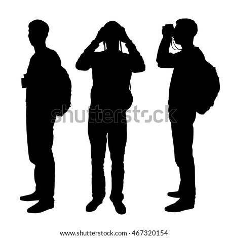 set of three silhouettes   man