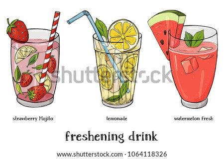 set of three soft drinks