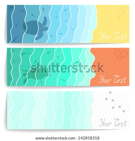 Set of three stylish postcards with water, sand and snow for your design