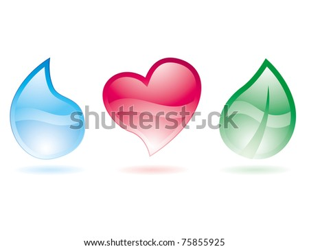 set of three stylized glossy