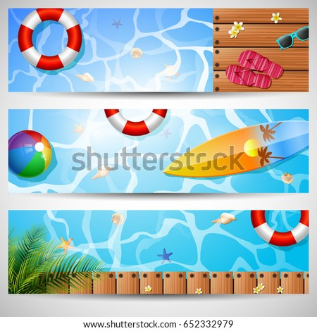 set of three summer beach