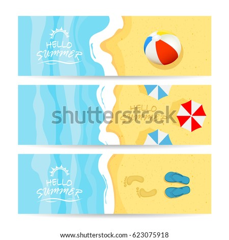 set of three summer cards with