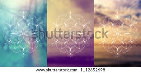 "Set of three template for card or poster, vertical format; Spiritual abstract sacred geometry on wonderful blurred background; ""Flower of life"" and lotus; Yoga, meditation and relax."