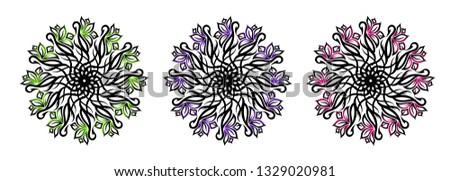 set of three tribal ornamental