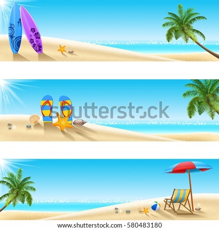 set of three tropical beach