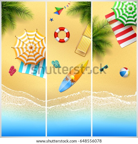 set of three tropical beach