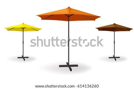 set of three umbrellas are