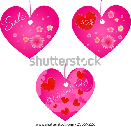 Set of three valentine's day and spring sale shop labels.