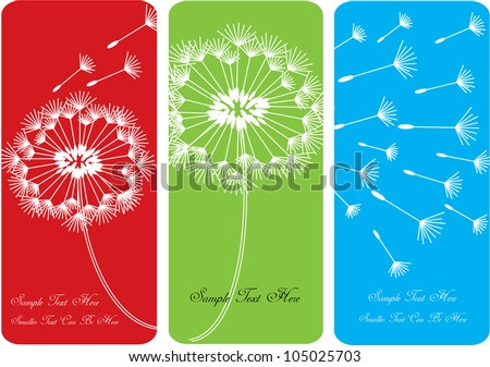 set of three various color vector cards with dandelions and seeds in silhouette and place for your text - stock vector